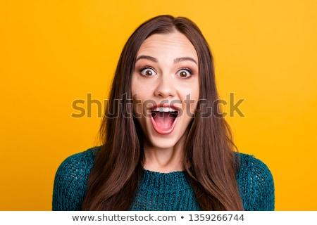 Megrémült nő bámul nyitva gyönyörű fiatal Stock fotó © dash