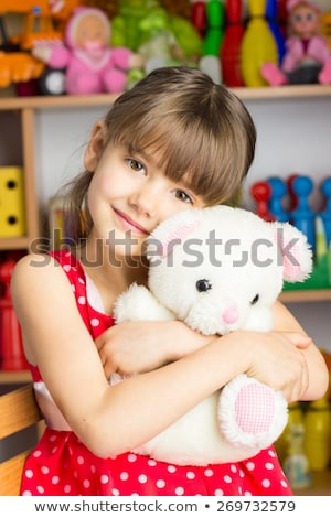 cute beautiful blond woman in red polka dots stock photo © dash