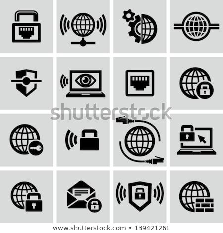 Notebook laptop schild internet veiligheid bescherming Stockfoto © fenton