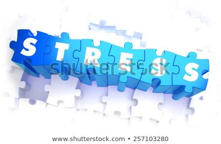 Stress woord Blauw kleur volume puzzel Stockfoto © tashatuvango