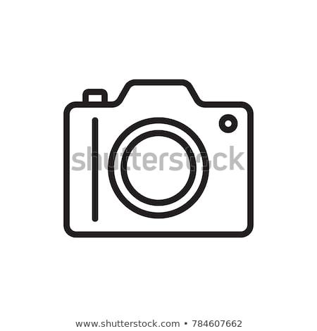 Kamera fehér ikon háló izolált kék Stock fotó © ylivdesign