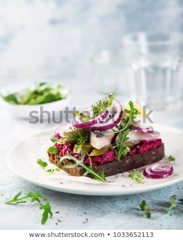 Pickled herring sandwiches Stock photo © joker