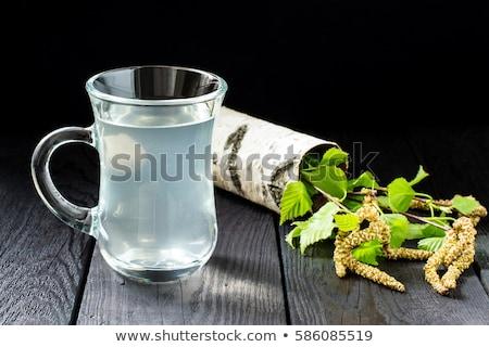 Brzozowy szkła drewniany stół stylu rustykalny selektywne focus Zdjęcia stock © zoryanchik