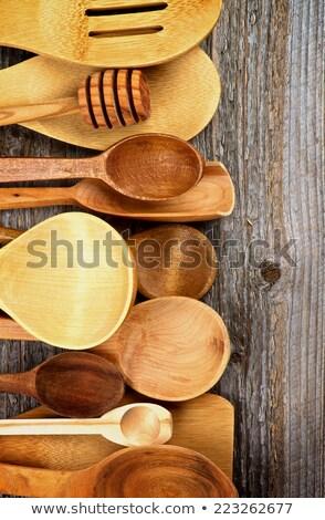 Wooden cooking utensils border Stock photo © ozgur