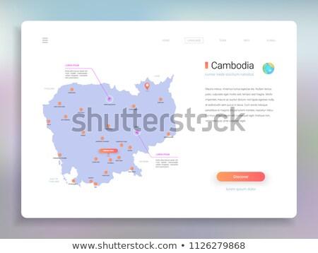 orange button with the image maps of Cambodia Stock photo © mayboro