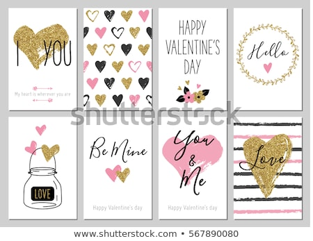 Valentine's Day greeting card with flowers and heart on grunge b stock photo © WaD