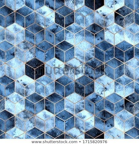 vektör · mavi · suluboya · geometrik · düzenlenebilir - stok fotoğraf © alexmakarova