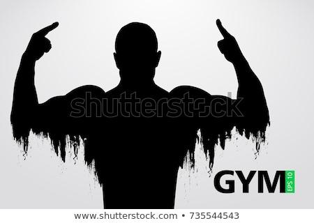 sin · camisa · muscular · hombre · posando · gimnasio · retrato - foto stock © wavebreak_media