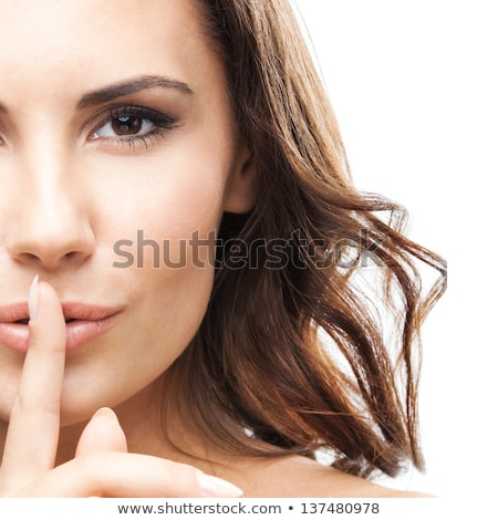 portrait of a beautiful woman with finger over lips stock photo © deandrobot