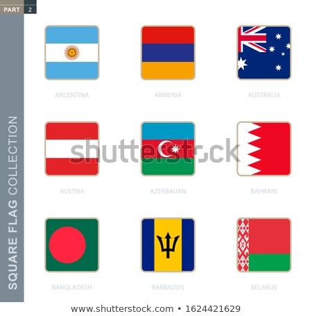 Vierkante label vlag Bangladesh geïsoleerd witte Stockfoto © MikhailMishchenko