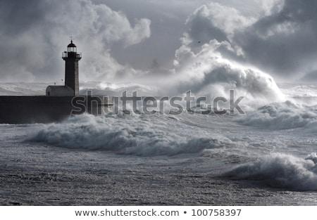 óceán · móló · viharos · nap · fából · készült · hullámok - stock fotó © stevanovicigor