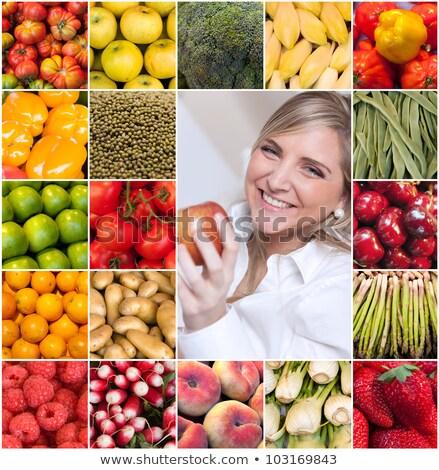 коллаж · молодые · красивая · женщина · свежие · овощи · здоровое · питание · продовольствие - Сток-фото © master1305