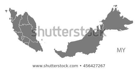 Térkép Malajzia utazás piros vektor Stock fotó © rbiedermann