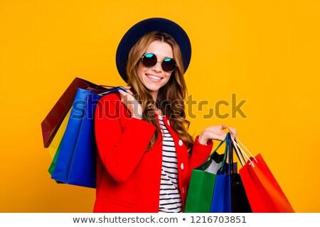 Elegante gekruld jonge vrouw veel kleurrijk Stockfoto © deandrobot