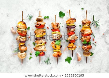Disznóhús nyárs zöldségek fokhagyma koktélparadicsom étel Stock fotó © Digifoodstock