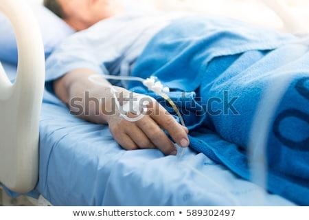 beteg · kórházi · ágy · oxigénmaszk · nő · orvosi · eljárás · csepp - stock fotó © rastudio