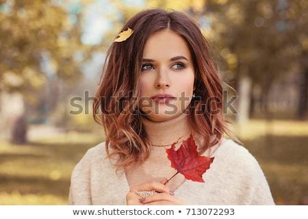 Stok fotoğraf: Güzel · esmer · sonbahar · makyaj · kadın · yüz