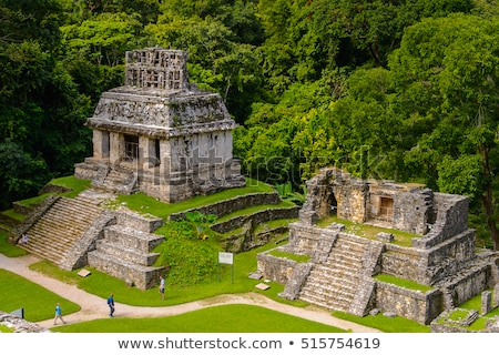 Tourists at Palenque archaeological site in Mexico Stock photo © cienpies