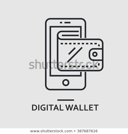 Modern digitális pénztárca illusztráció szürke gomb Stock fotó © WaD