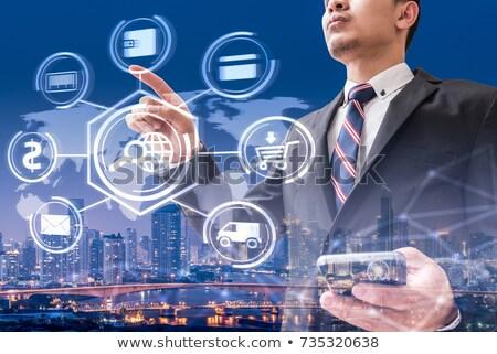 Dedo sociedad botón móviles electrónico Foto stock © stevanovicigor