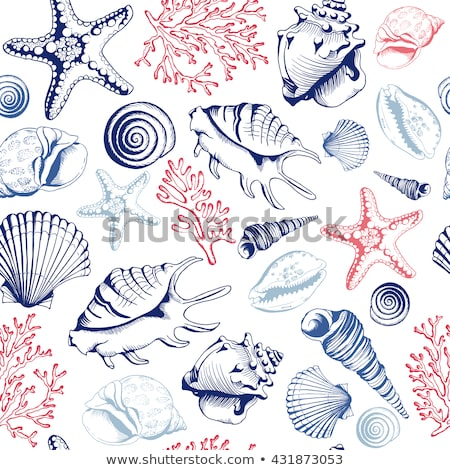 Seamless background with seashells and starfish Stock photo © bluering