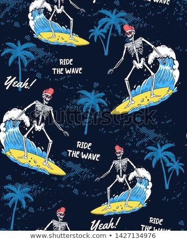 Iskelet sörfçü deniz yaz plaj arka plan Stok fotoğraf © doomko