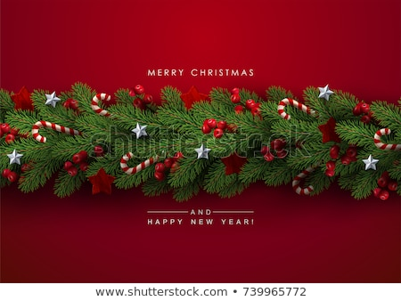 Wooden banner with Christmas Fir-tree branches. Stock photo © beholdereye