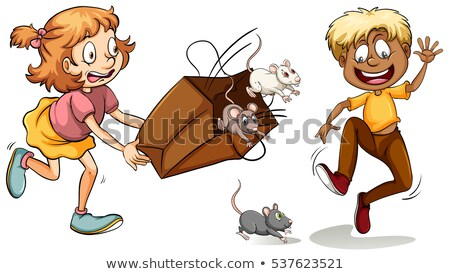little girl with bag full of mouse stock photo © bluering