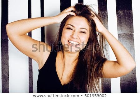 weinig · zwarte · jurk · mooie · blonde · vrouw · vrouw · zwarte - stockfoto © iordani