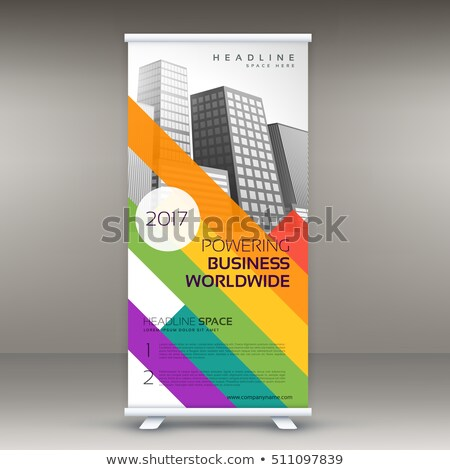 Stock photo: roll up banner template with colorful lines for your brand