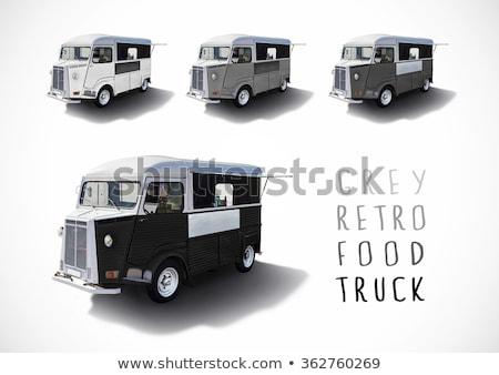 conjunto · cinza · escala · comida · caminhões · isolado - foto stock © dawesign