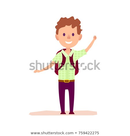 Curly Cheerful Boy with Brief-bag Waving by Hand Stock photo © robuart
