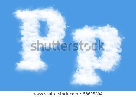 Letter P cloud font symbol. White Alphabet sign on blue sky Stock photo © popaukropa