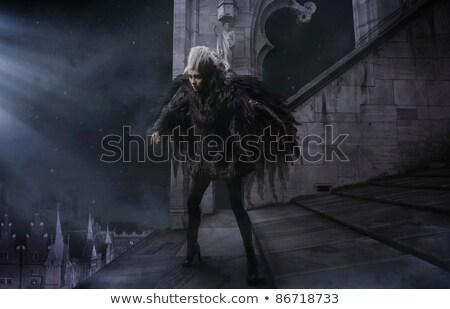 young woman with raven Stock photo © iordani
