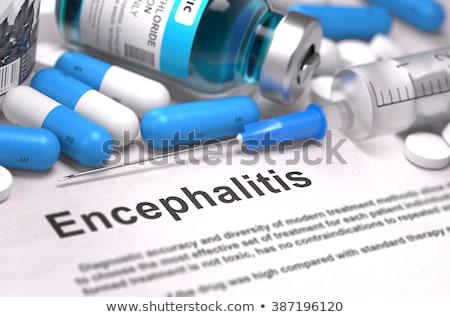 Diagnoza medycznych zamazany sprawozdanie jasnozielony pigułki Zdjęcia stock © tashatuvango