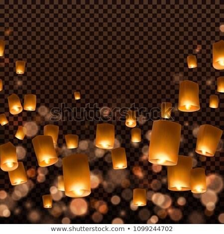 Kínai égbolt repülés lebeg lámpások vektor Stock fotó © TRIKONA