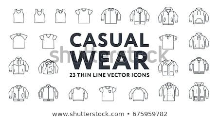 Jaqueta de couro linha ícone vetor isolado branco Foto stock © RAStudio