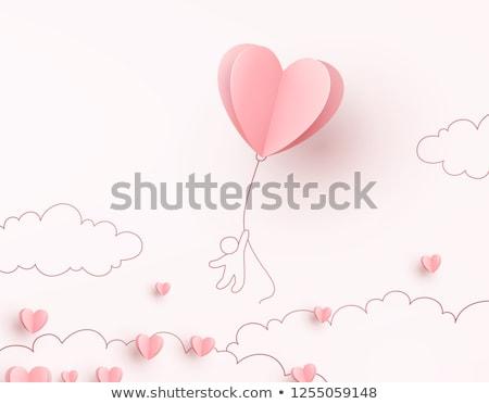 Foto stock: Tarjeta · de · felicitación · corazón · aumentó · azul · boda · signo