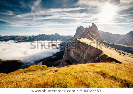 Aerial view of the alpine valley. Location Puez-Odle National Pa Stock photo © Leonidtit