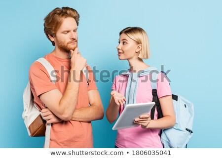Jóvenes barbado hombre tomados de las manos junto pensando Foto stock © deandrobot