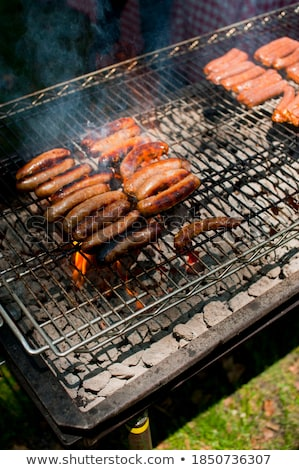 Closeup shot of sausages on a grill Stock photo © Nobilior