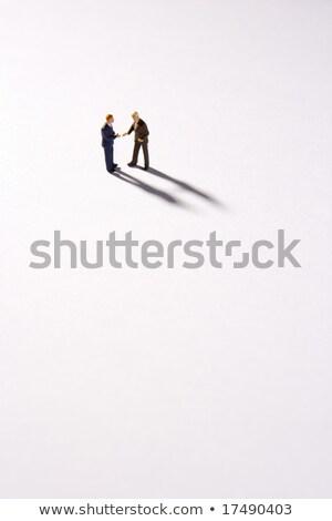 Heykelcik iki işadamları el sıkışmak görüntü iş Stok fotoğraf © wavebreak_media