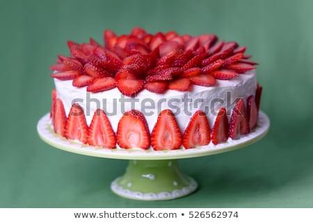 Para wanilia czekolady truskawek ciasta Zdjęcia stock © mpessaris