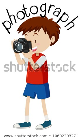 Flashcard for word photograph with boy taking picture Stock photo © bluering