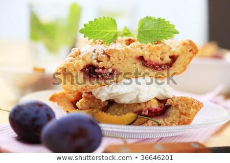 Сток-фото: слива · крошка · торт · пирог · Cut