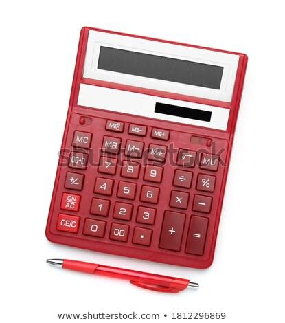 красный калькулятор изолированный белый фон Сток-фото © kravcs