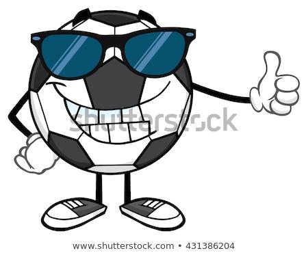 Gülen futbol topu karikatür maskot karakter güneş gözlüğü başparmak Stok fotoğraf © hittoon