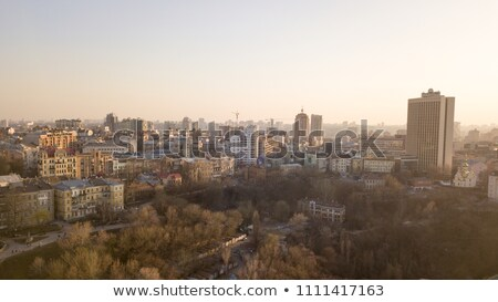 Panoramic view from the drone to a central part of Kiev with modern and old buildings, to a left ban Stock photo © artjazz