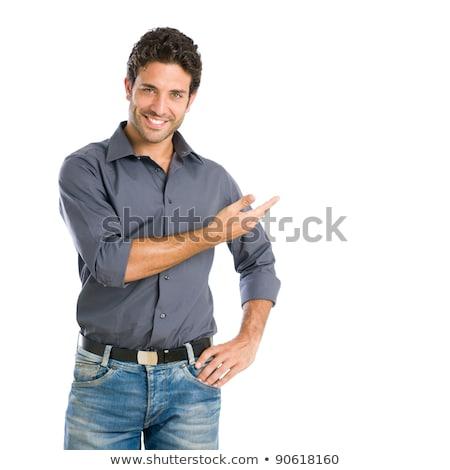 бизнесмен · улыбка · хорошо · жест · белый - Сток-фото © studiostoks