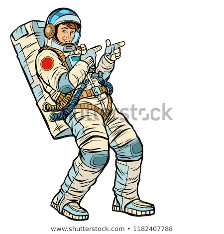 astronaut young man points isolate on a white background stock photo © studiostoks